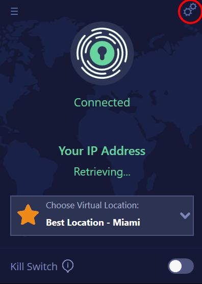 main PrivadoVPN app screen